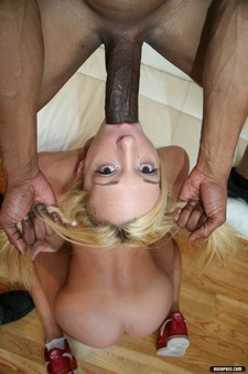 Massive black cock forced down her throat