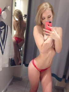 Sexy blonde selfie in red panties