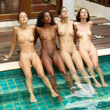 Four HOT young girls by the pool.