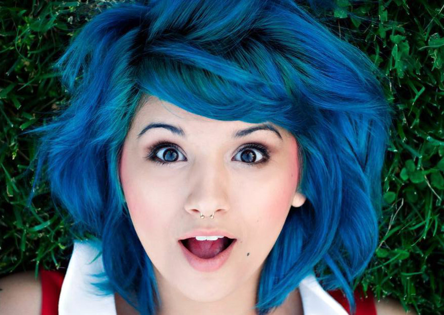 Blue hair i like it.