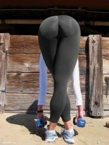 Sexy girl bending over in leggings with a perfect ass!!.