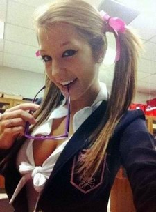 Sexy school uniform teen girl selfshot.