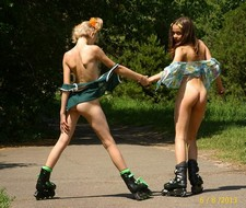 Two fabulous nude girls outdoor