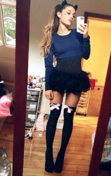 Selfie by skinny teen in hot stockings ready for helloween party she is sexy in this..